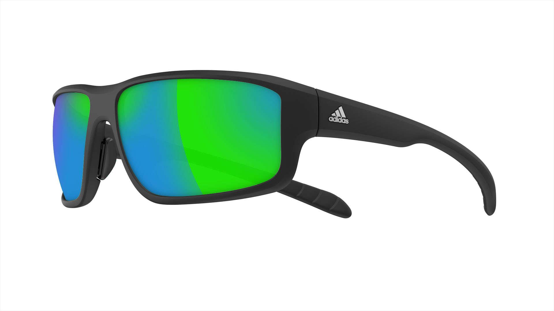 447e9b0582e522 adidas Kumacross 2.0 Zonnebril Mat Zwart Groen Spiegelglas koop je ...