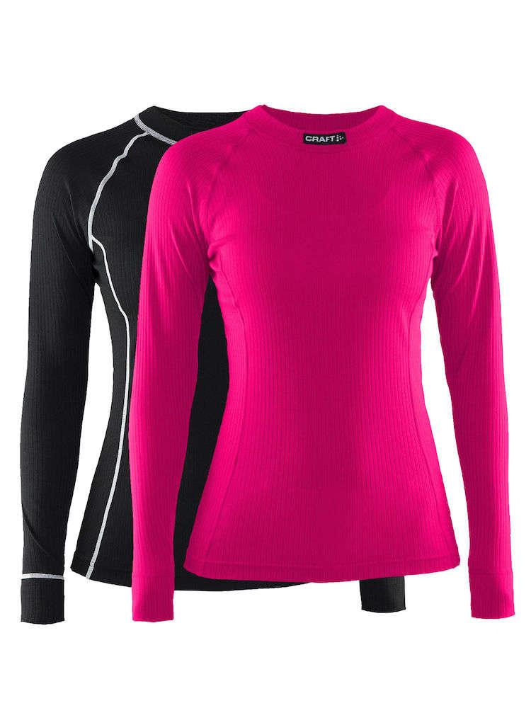 dc212744eecbe7 Craft Be Active Ondershirt Lange Mouwen Roze/Zwart Dames 2-Pack koop ...