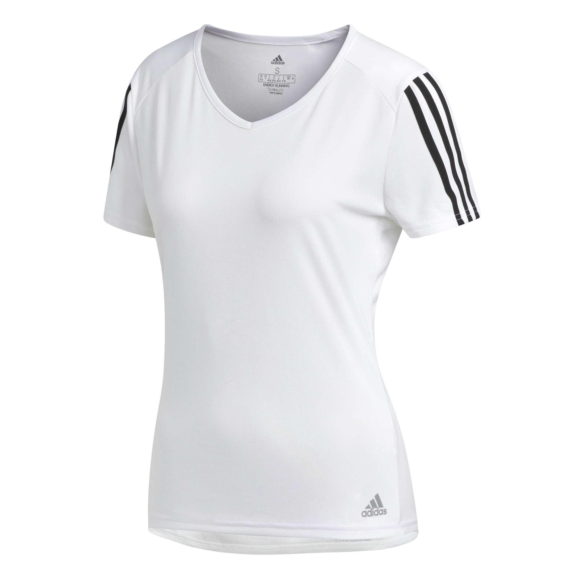 Run 3-Stripes Hardloopshirt Korte Mouwen Wit/Zwart Dames