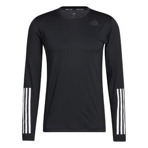adidas 3 Stripes Hardloopshirt Lange Mouwen Zwart Heren