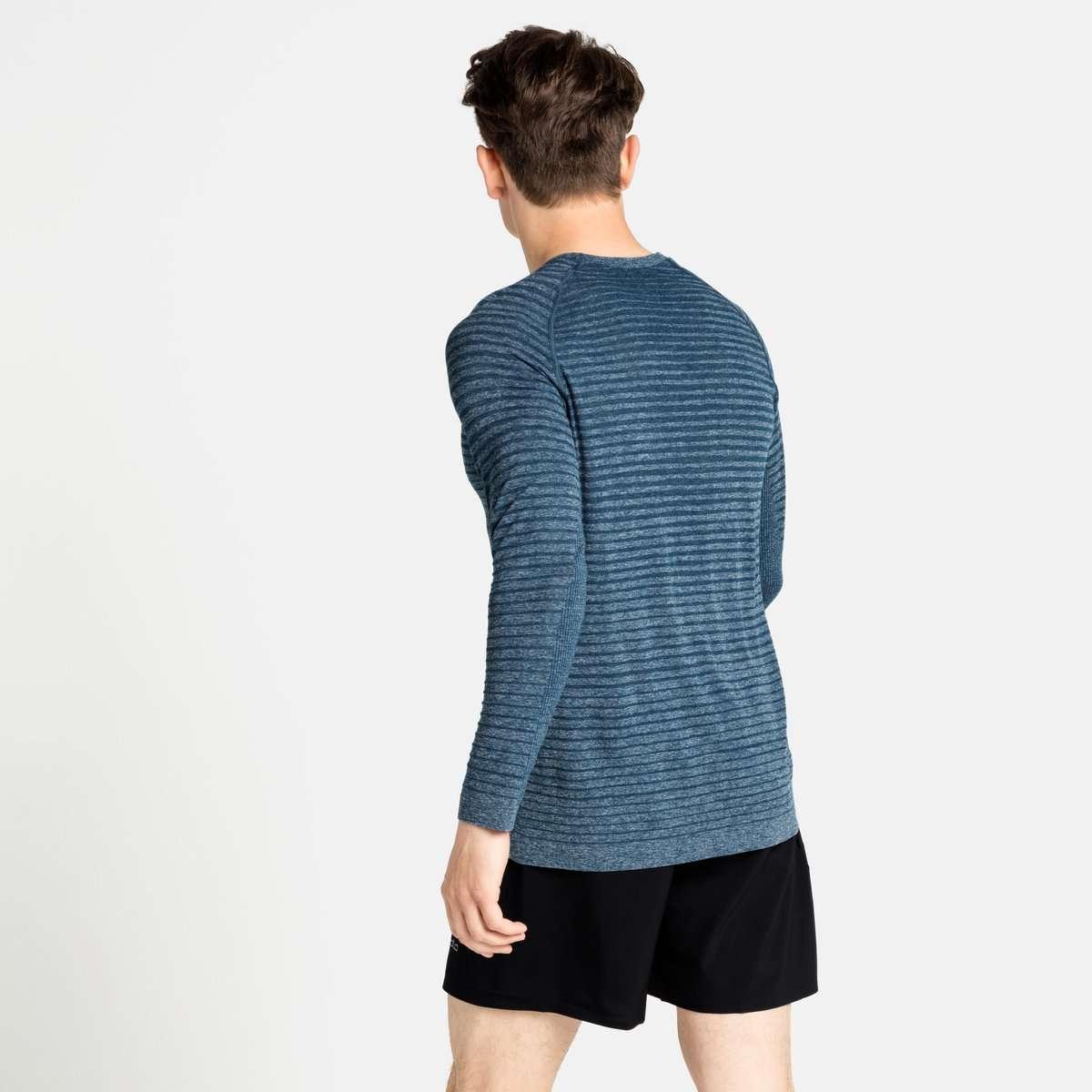 Odlo Essential Seamless Crew Neck Hardloopshirt Lange Mouwen Blauw Heren
