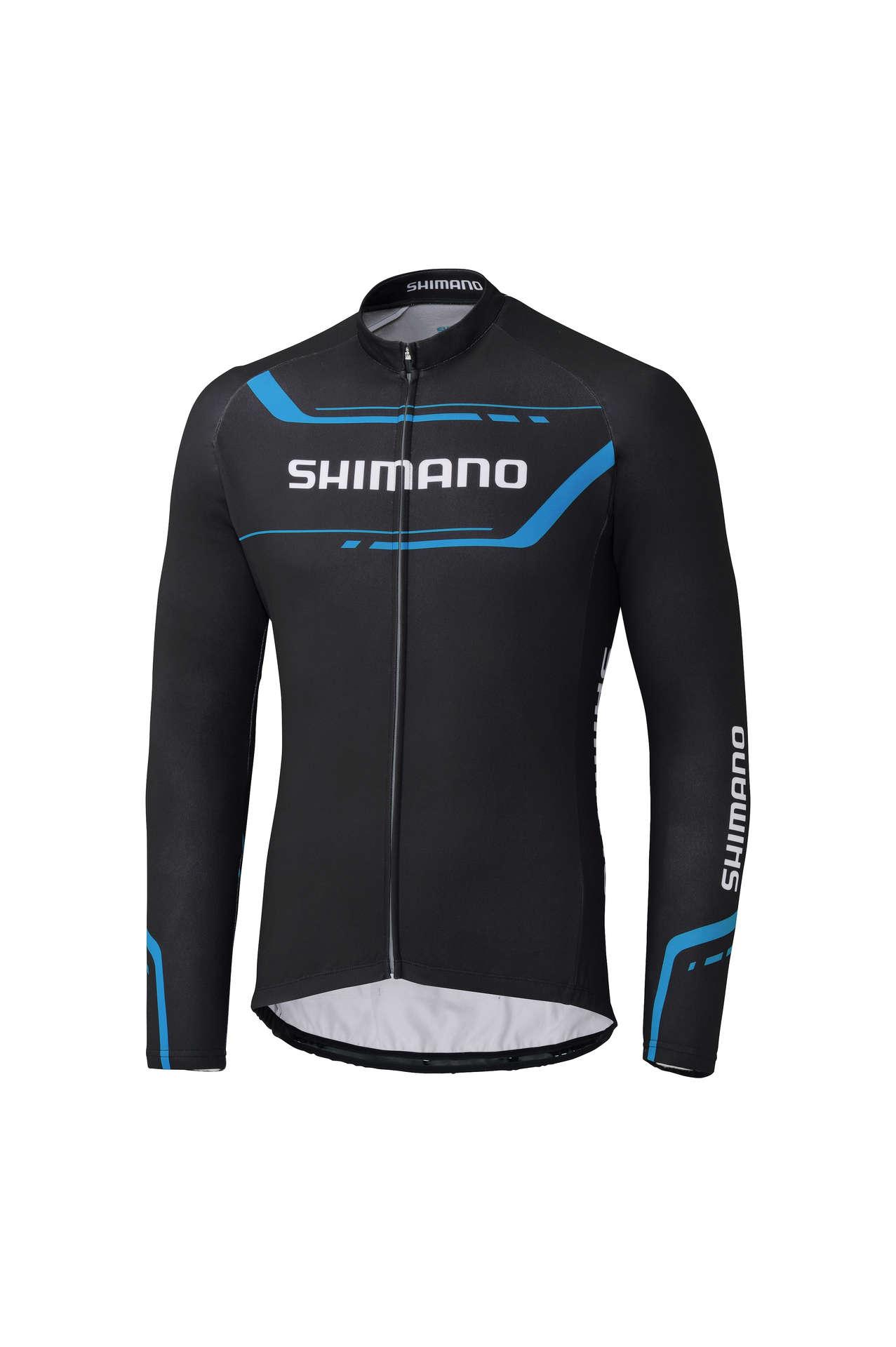 d22075b42532a8 Shimano Thermal Print Fietsshirt Lange Mouwen Zwart Blauw Heren koop ...