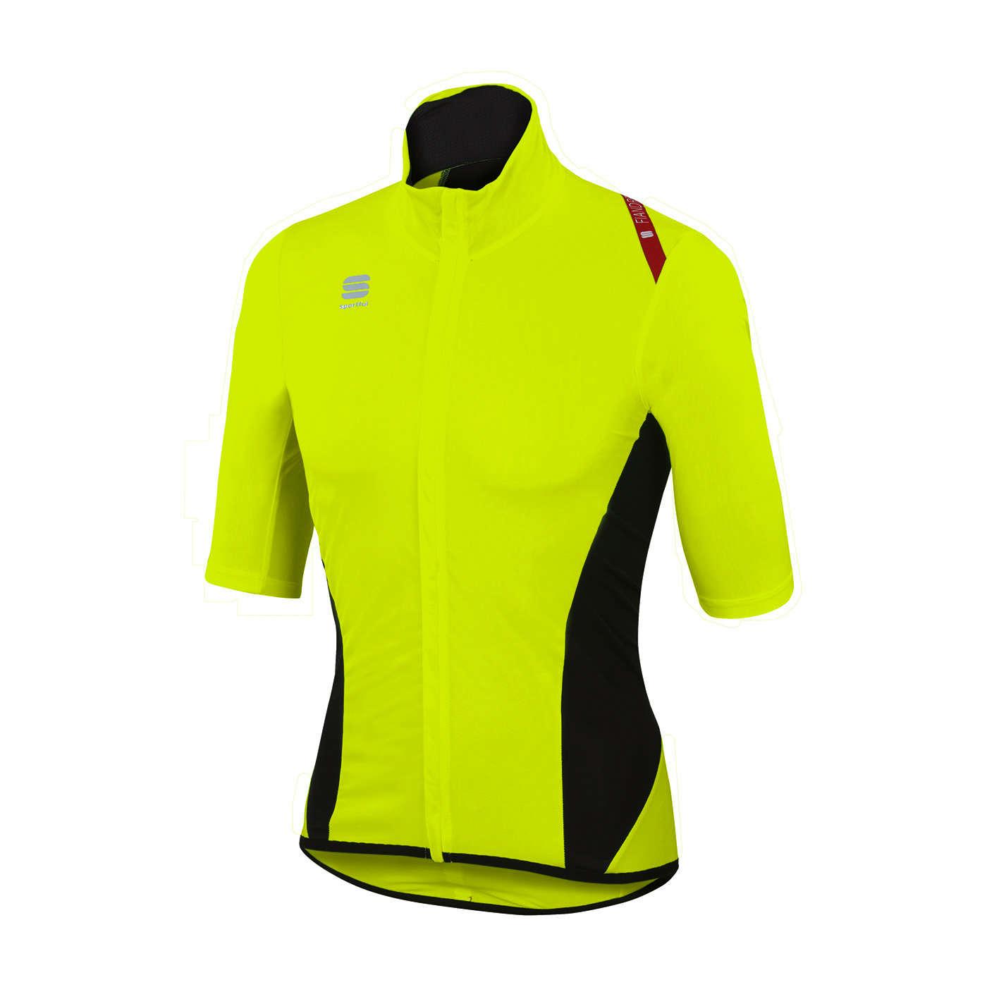 6d8f21e6173 Sportful Fiandre Light Norain Fietsshirt Korte Mouwen Geel/Zwart Heren