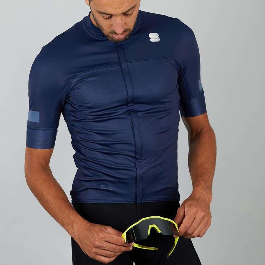 Sportful Classic Fietsshirt Korte Mouwen Blauw Heren