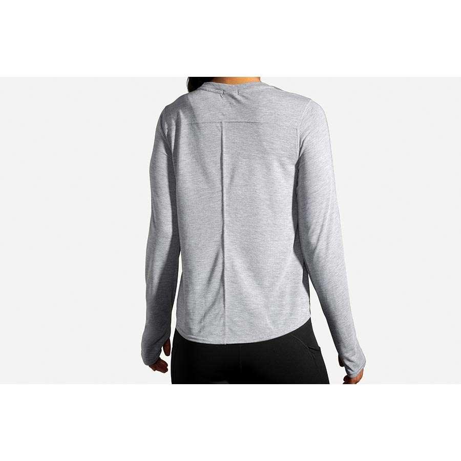 Brooks Distance Graphic Hardloopshirt Lange Mouwen Grijs Dames