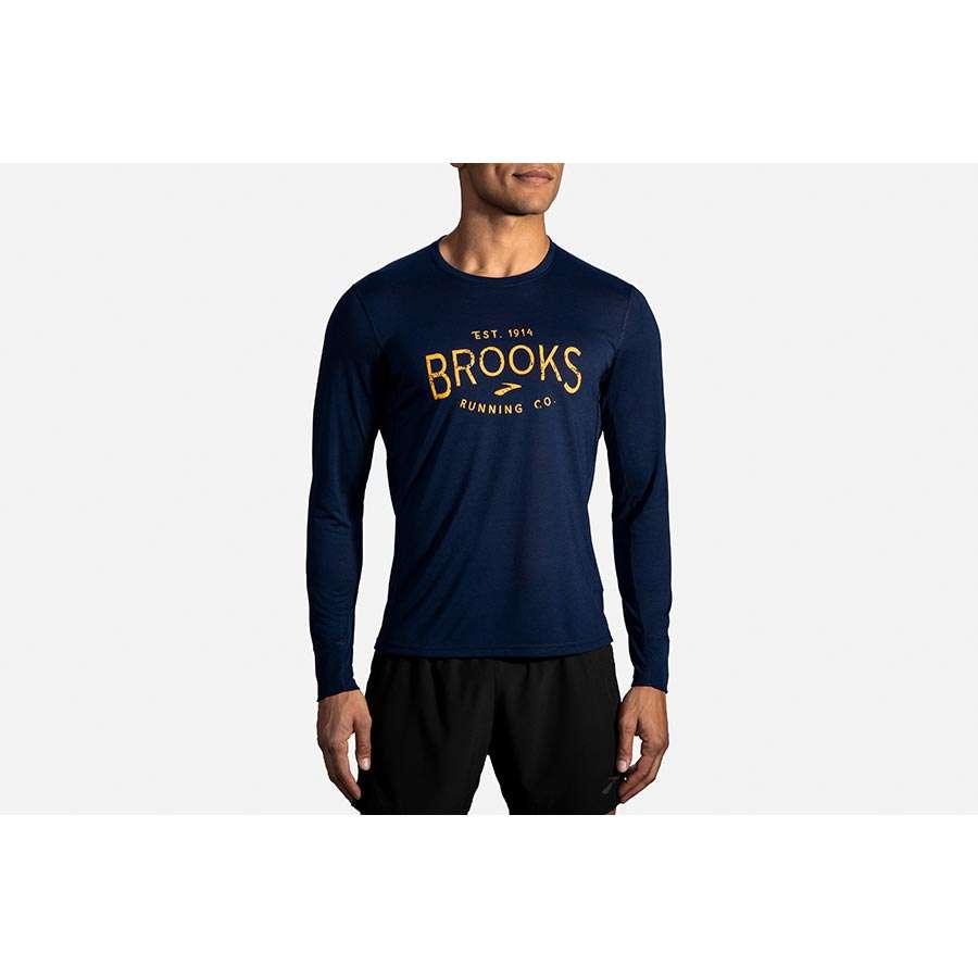 Brooks Distance Graphic Hardloopshirt Lange Mouwen Donkerblauw Heren