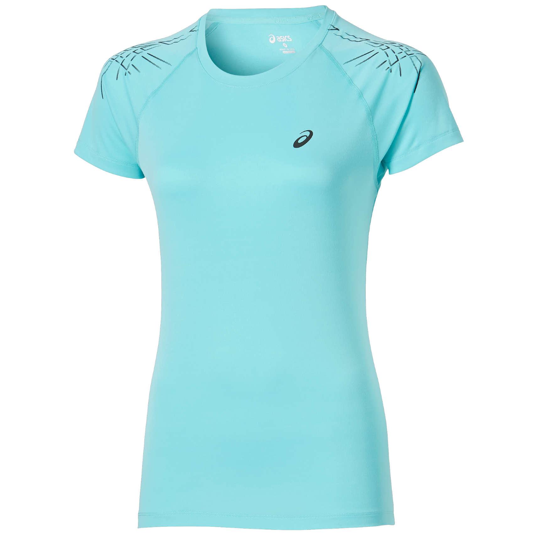 ASICS Stripe Hardloopshirt Korte Mouwen Lichtblauw Dames