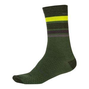 Endura BaaBaa Merino Stripe Fietssokken Groen/Lichtgroen