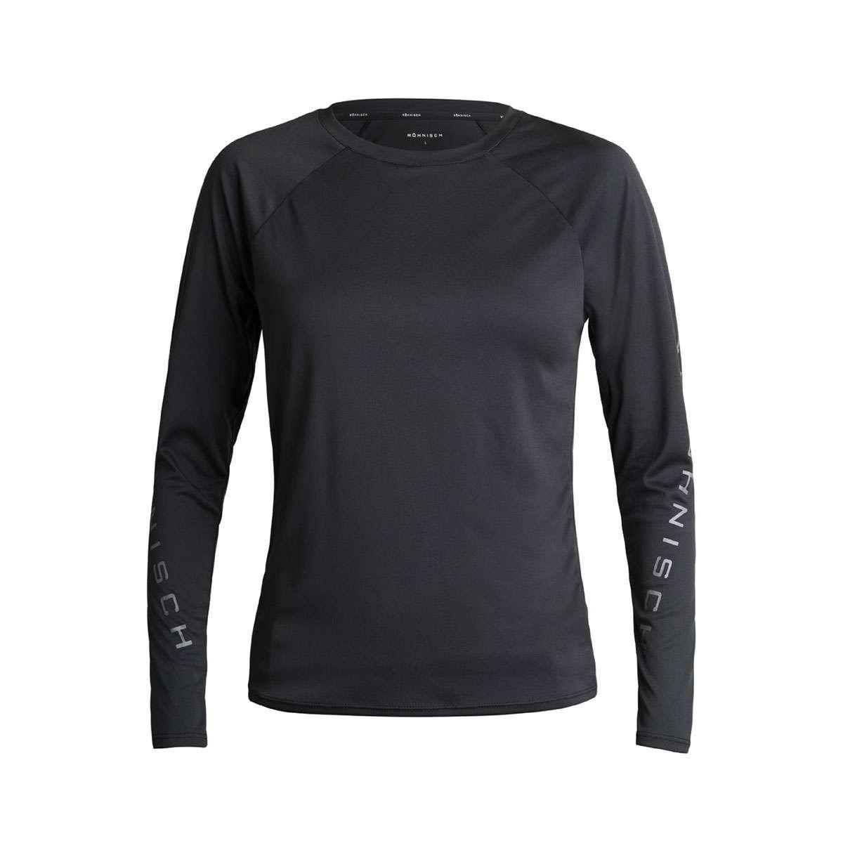 Röhnisch Active Logo Hardloopshirt Lange Mouwen Zwart Dames
