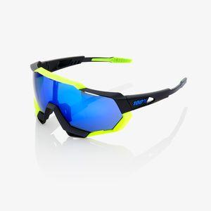02af98edaef4e0 100% Speedtrap Sportbril Polished Zwart Mat Neon Geel met Electric Blauw Mi