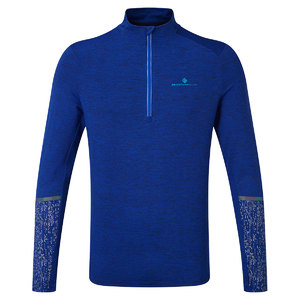 Ronhill Life Night Runner 1/2 Zip Hardloopshirt Lange Mouwen Blauw Heren