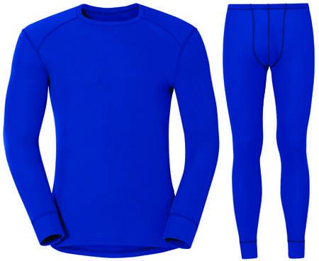 picture Warm Set Ondershirt Lange Mouwen met Onderbroek Lang Blauw Heren