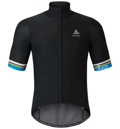 picture Vlaanderen Stand-up Collar Fietsshirt Korte Mouwen Zwart/Blauw Heren