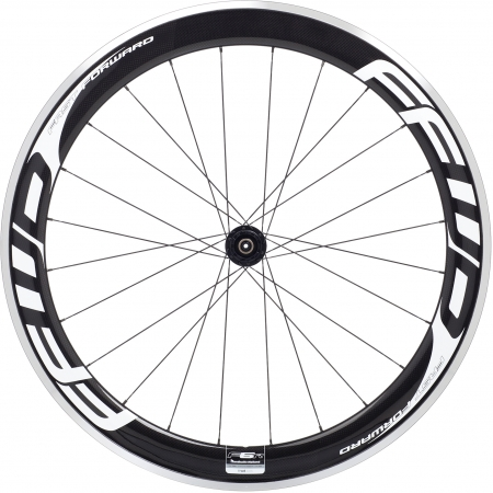 picture F6R Carbon Clincher Wielset Wit Logo Design met Fast Forward Naaf