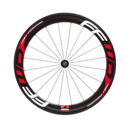 picture F6R Full Carbon Clincher Wielset Rood/Wit met FFWD Naaf
