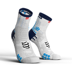 Compressport ProRacing V3.0 Run Hi Compressiesokken Wit/Blauw